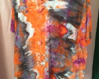 Hand Dyed Orange and Black XL T-shirt