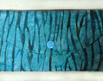 Turquoise Wallet, Vegan, Women's Wallet, Fabric Wallet, Tri-fold Wallet, Clutch