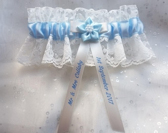 personalised something pale blue satin & ivory lace wedding brides bridal bridesmaid gift garter