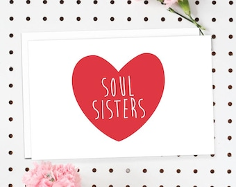 4-Pack of Flat Notecards - Stationery With Envelopes - Soul Sisters