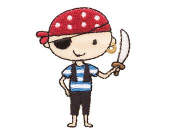 Pirate Boy Iron On Applique, Pirate Iron On Patch, Pirate Applique, Boys Patch, Kids Patch, Embroidered Patch