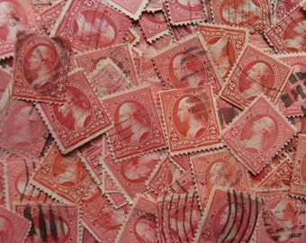 Vintage Red Stamps -  Lot of 150 Used Postage Stamps From 1890
