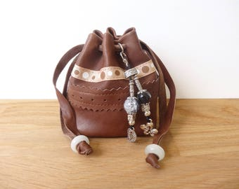 Wallet - purse Brown genuine leather - adorned with charms