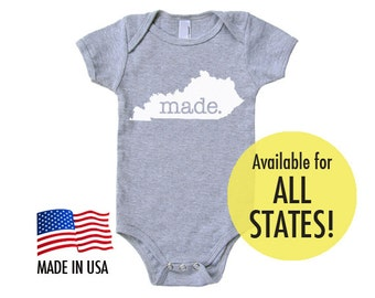All States 'Made' Cotton Baby One Piece Bodysuit - Infant Girl and Boy Gift American Apparel Baby Clothing
