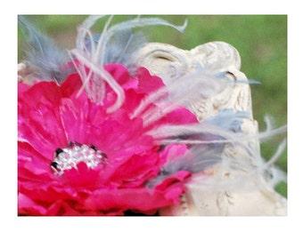 Fuchsia Gray & Rhinestone Flower. Hair Clip / Brooch Pin / Comb. Etsy Handmade Fashion, Bridesmaid Gift, Special Occasion Birthday Pink Clip