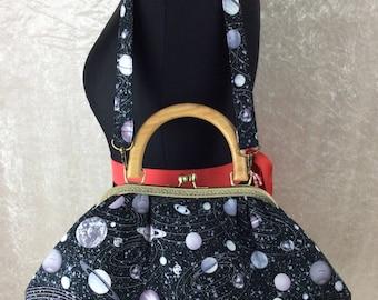 Planets Fabric purse bag frame handbag fabric handbag shoulder bag frame purse kiss clasp bag Handmade Space Stars