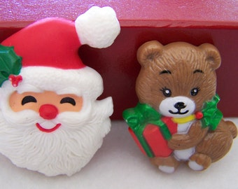 "Vintage 80's ""HALLMARK "" Santa Face / Pin Brooch & ""RUSS""  Christmas Bear Pin"