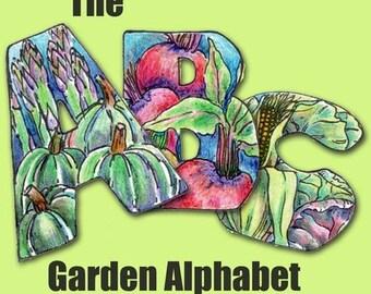 Eat Your Veggies Alphabet - Capital Letters Font - Digital Collage Sheet PDF