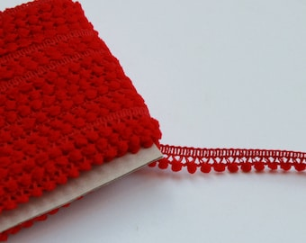 Red mini pom pom trim - Red trim - Red pom pom sewing notion