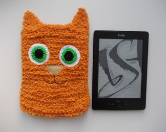 Knit kindle case orange cat, knitted accessory, knitted kindle cover, e-reader cover, cover for e-book, kindle case, kindle sleeve