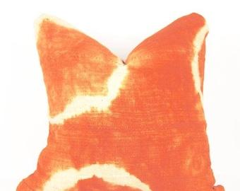 Orange mudcloth pillow shibori   shibori tie dye african mud cloth pillow   orange mudcloth pillow   bohemian pillow