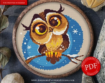 Baby Cross Stitch Pattern of Owl for Instant Download *P046 | Embroidery Pattern| Cross Stitch PDF| Needlecraft Pattern| Hand Embroidery
