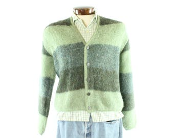 60s Mohair Cardigan Sweater Green Striped Wool Button Up Vintage 1960s Medium M Large L Rockabilly Hipster Preppy Edgeworth