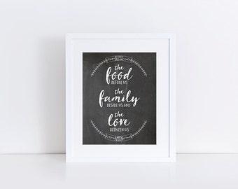 Bless the Food Before Us, Bless the Food Before Us Sign, Kitchen Decor, Kitchen Wall Decor, Kitchen Art, 8x10 Printable Instant Download