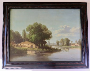 Antique French Oil Painting, Lake Landscape, 1800s, Classic Painting, Traditional Home Decor, Framed Painting