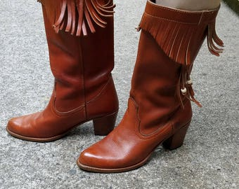 Toffee Fringe Boots