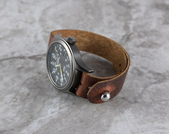 Leather Watch Strap - Pass through 22mm 20mm 18mm watch band for Timex Weekender, Expedition - Handmade custom full grain leather