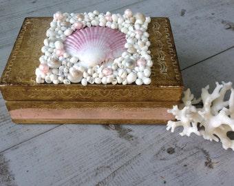 Florentine Seashell Box/Vintage Italian Florentine/Jewelry Box