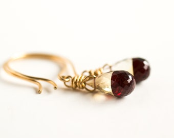 Garnet and topaz earrings, color block gemstone earrings, red and gold