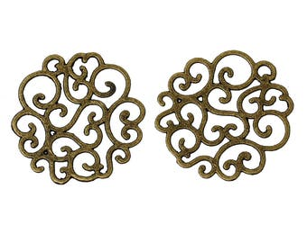 prints 2 filigree flower bronze 25 mm