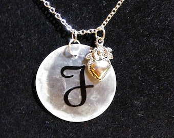 Personalized Shell necklace with heart charm