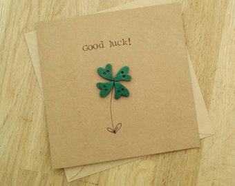 Handmade good luck card with heart button lucky four leaf clover
