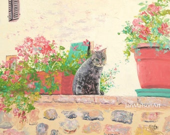 Garden painting, cottage painting, tabby cat art, cat on wall, geraniums in pots, Italy street scene, cottage decor, Etsy Art, by Matson