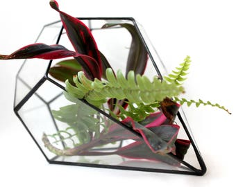 Teardrop Planter, Glass Geometric Terrarium Container, Handmade Glass Terrarium, Geometric Home Decor, Stained Glass Terrarium,  Gifts