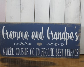 A Grandparents House is where/Cousins Become Best Friends/Personalized/Christmas/Mother's Day/Wood Sign/Grandparent si
