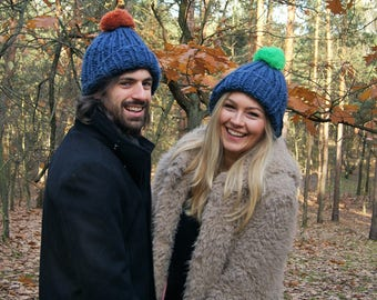 Blue wool, slouchy beanie, hat Mens beanie with pom pom, Hand knit hat, Womens hats Slouchy hat Bobble hat Chunky ski hat Blue hat