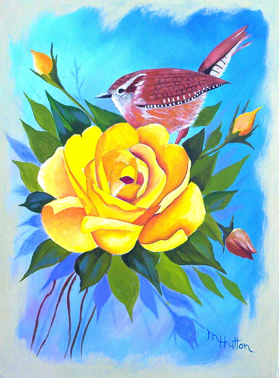 Original Acrylic Painting Large Yellow Rose with a Wren