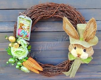 Easter Rabbit Wreath,Sisal Bunny Wreath,Spring Wreath,Handmade Wreath,Front Door Wreath,Wreath,Rustic Easter Wreath,Grapevine Wreath
