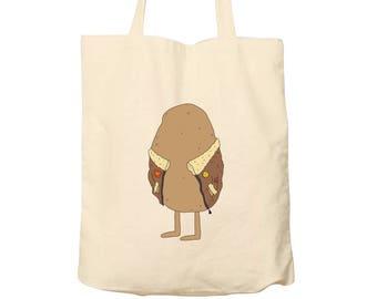 Tote Bag Jacket Potato, Tote Bag Puns, Cotton Tote, Bag For Life, Food Bag