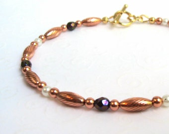 Copper Beaded Bracelet, Stacking Bracelet, Small Beaded Bracelet with Czech Beads, Dainty Jewelry, Simple Modern Jewelry