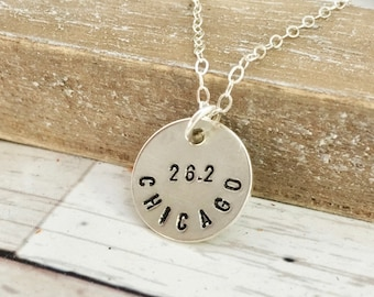 Chicago Marathon 26.2 necklace, gift for her, running jewelry, marathon necklace, personalize with city name date or time, sterling silver