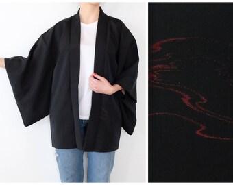 Vintage Haori with a Glittery Motif - Excellent Condition - Kimono Cardigan - Haori - Japanese Kimono - Bohemian Vintage - Women's Kimono