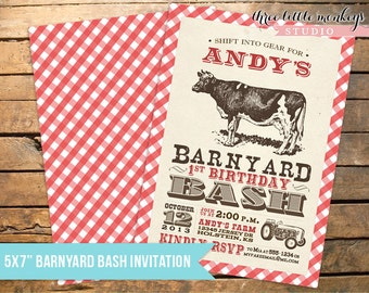 Vintage Barnyard Bash Invitation