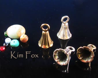 Bell Shaped Glue In Cone pair with large loop in Sterling Silver and Golden Bronze designed by Kim Fox