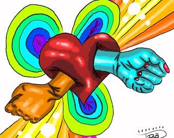 4x6 glossy digital art prints limited original designs popart weird art Fight For Love rainbow equality