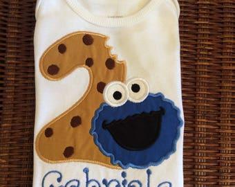 Girls Sesame Street Cookie Monster Cookie Number Birthday Shirt Or Bodysuit- Ages 1-6, Toddler, Custom Birthday Number Top