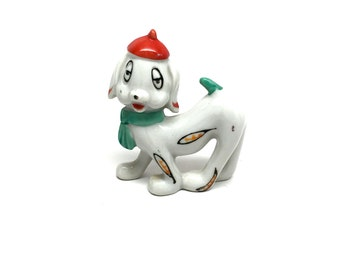 Hipster Dog Figurine, Groovy, French Beanie Hat, Droopy Eye, Googly Eye, Cartoon,Paisley,Japan, 1950