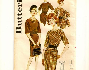 """A Slim Dress w/Optional Detachable Dickey & Cuffs, and Long Straight Lined Stole Pattern for Women: Retro Size 16, Bust 36"""" • Butterick 2418"""