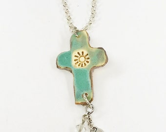 Cross Necklace, Ceramic Cross Necklace, Necklace, Western Necklace