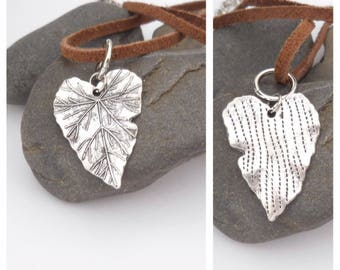 Leather Necklace, Adjustable Choker, Heart Pendant, Double Sided Pendant, Short Necklace, Leather Choker, Heart Pendant, Brown, Silver