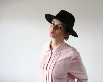 Vintage pastel pink shirt Pale pink shirt Silk blouse Lightweight shirt Light pastel chic shirt Office business 80s (S/M)