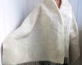 BRAIDESMAID SHAWLS WOOL Yin-Yang Linen Oversized Scarf Wedding Bridal shawl wedding gift Natural Scarf Wool Linen Scarf Mother's Day Gift