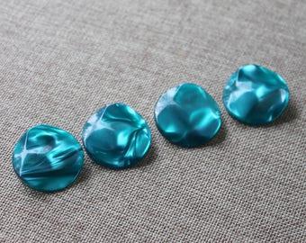Vintage Teal Plastic Buttons- Wave Design, Metal Shank - Set of 4
