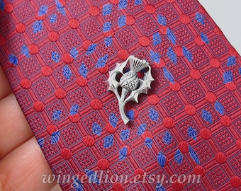 Thistle silver tie tack pin with Garnet