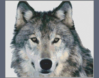 Handsome Grey Wolf Counted Cross Stitch Pattern in PDF for Instant Download