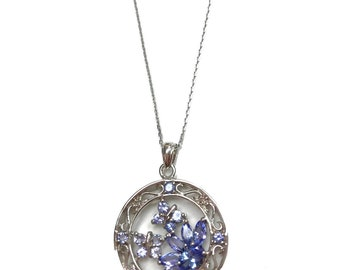 Genuine 1.50 Carat Round Shaped Natural Tanzanite 925 Sterling Silver Pendant Necklace With 18 inch Silver Chain